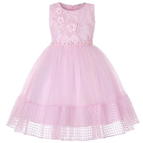 E-girl Vestido de tul para niña con flores C566 Rosa. 140
