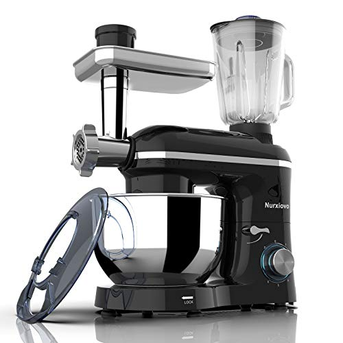 Nurxiovo 3 in 1 Stand Mixer 850W 6 Speed Tilt-Head Kitchen Mixer with 6.5QT Mixer with Stainless Steel Bowl, Dough Hook Whisk Beater, Multifunction Standing Mixers, Meat Blender and Juice Extracter Black