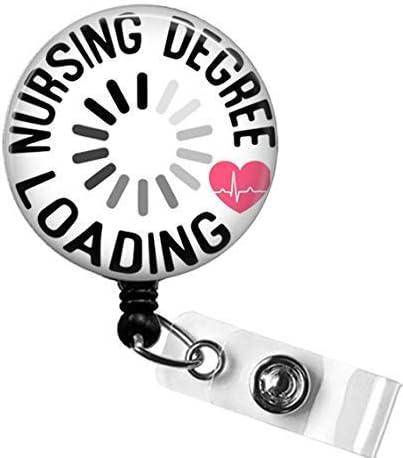 Nursing Student Badge Reel NURSING DEGREE Loading Badge Student Nurse Retractable ID Badge Holder product image