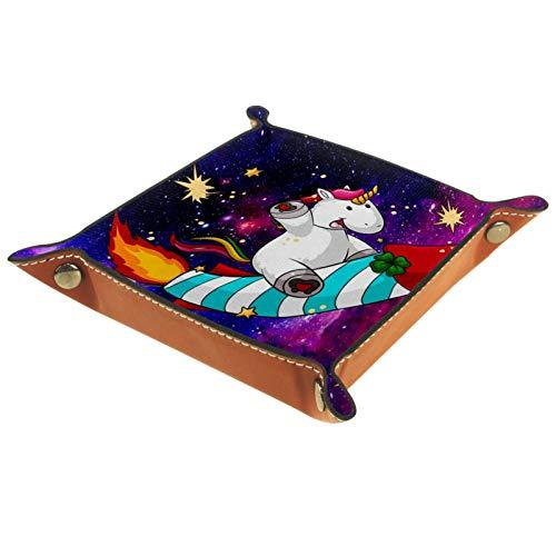 YATELI Caja de Almacenamiento pequeña, Bandeja de Valet para Hombre,Lindo Espacio de Fuegos Artificiales de Unicornio,Organizador de Cuero para Llaves de Caja de Monedas