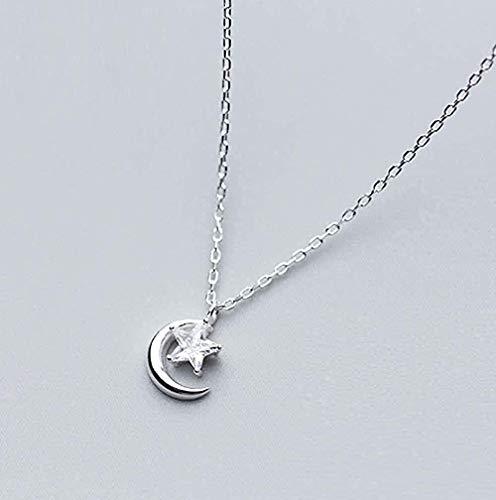 Yiffshunl Collar, Collar, Colgante de Estrella de Luna Real, Adecuado para Pareja Joven, Fiesta de Boda, Regalo de joyería romántica
