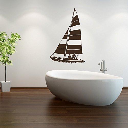 malango® Wandtattoo - Segelboot Wand Tattoo See Meer Segeln Dekoration Wandaufkleber Aufkleber ca. 25 x 40 cm dunkelblau