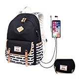Canvas School Backpack for Teen Girls with USB Charging Port