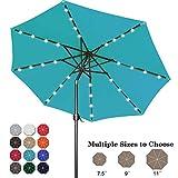 ABCCANOPY 9FT Patio Umbrella Ourdoor Solar Umbrella LED Umbrellas with 32LED Lights, Tilt and Crank Table Umbrellas for Garden, Deck, Backyard and Pool,12+Colors, (Turquoise)