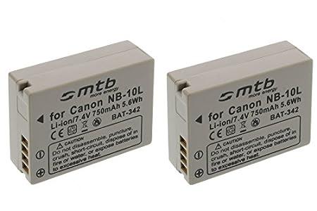 2X Batería NB-10L para Canon PowerShot G15, G1X, SX40 HS, SX50 HS. (Ver descripción)