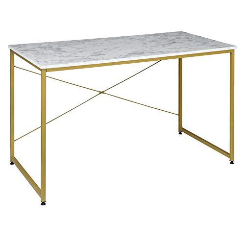 EUGAD 0082ZZ Schreibtische Computertisch PC-Tisch Bürotisch Arbeitstisch mit Bücherregal Holz 120x60x70 cm Golden Marmor