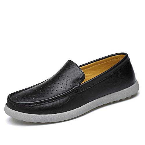 Cheapest Prices! Hilotu Men's Breathable Boat Moccasins Anti Slip Leather Casual Shoes Hollow Lightw...