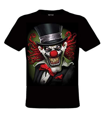 DarkArt-Designs Lifestyle T-Shirt Clown Tophat - Clown T-Shirt pour Messieurs - Motif de Plaisir Regular fit, Noir, L