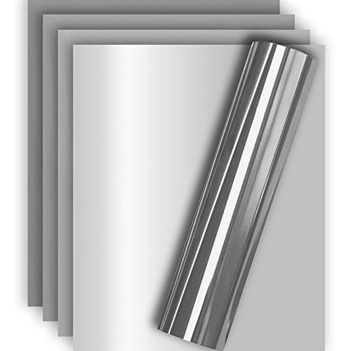 Silver Metallic Foil HTV Heat Transfer Vinyl for Tshirt and Apparel 12 X 10( Pack of 5 ), Easy to Weed and Iron on, Guaranteed Size