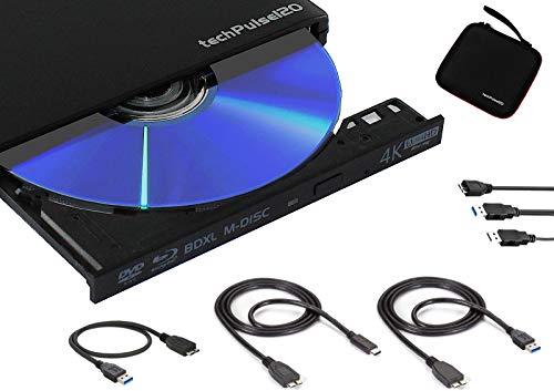 techPulse120 Externes UltraHD UHD 4k 3D M-DISC BDXL HDR10 100GB USB 3.0 & USB-C Laufwerk Bluray Brenner Burner Superdrive UltraSlim BD DVD CD Ultra Paket Tasche 90cm Anschlusskabel Aluminium Schwarz