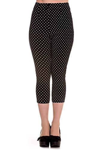 Pantalones piratas de Hell Bunny Negro Kay Lunares de estilo Vintage de los 50s - (3XL - ES 48)