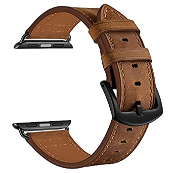 CINORS Leather Band Compatible with Apple Watch Vintage Classical Bands Dark Brown Extra Large XL Replacement Strap for iWatch Series 6 SE 5 4 3 2 1 Nike Space Black Grey 42mm 44mm Men Women XXL