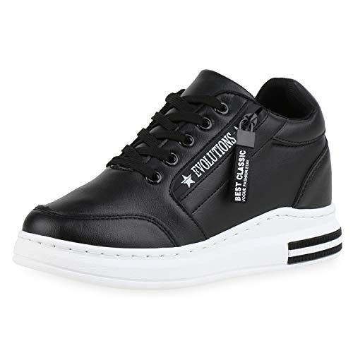 SCARPE VITA Damen Plateau Sneaker Keilabsatz Schuhe Schnürer Wedges Turnschuhue Keilsneaker Logo Print Zipper Freizeitschuhe 185454 Schwarz 39