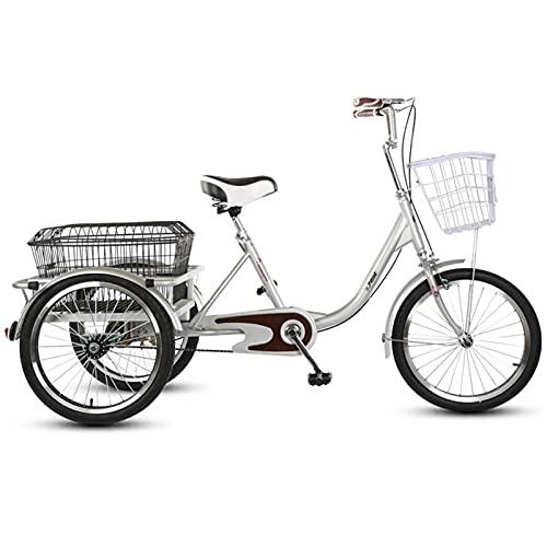 SN Triciclo para Adultos 3 Ruedas Bicicleta Carga 20 Pulgadas 1 Velocidad Personas Mayores Triciclos con Freno Doble Cesta Compra para Mujeres, Hombres Ciudad Calle