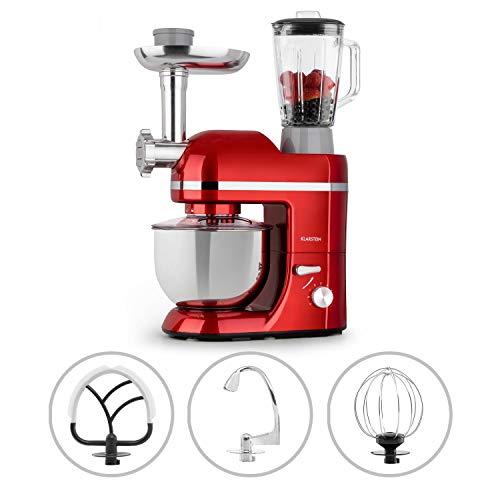 Klarstein Lucia Elegance - Robot de cocina multifunción, Potencia 1300 W, Recipiente de acero inoxidable con 5 L de capacidad, 6 niveles, 3 accesorios de mezcla, Protector contra salpicaduras, Rojo