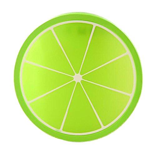 CAOLATOR Fruit Images Dessous de Verre en Silicone Table Mats Anti-dérapant Résistant à la Chaleur de Table Mats (diamètre 9cm)Vert orange