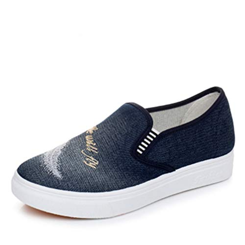 Mode Femme Casual Chaussures Respirant Denim Toile Slip on Low Top Appartements Femme Plateforme Vulcanisé Chaussures Femme Mocassins Chaussures