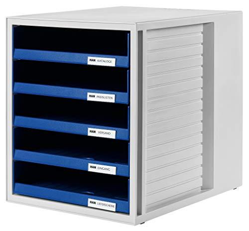 HAN 1401-14, Cassettiera System-Box, design attrattivo ed innovativo con 5 cassetti aperti, grigio chiaro-blu