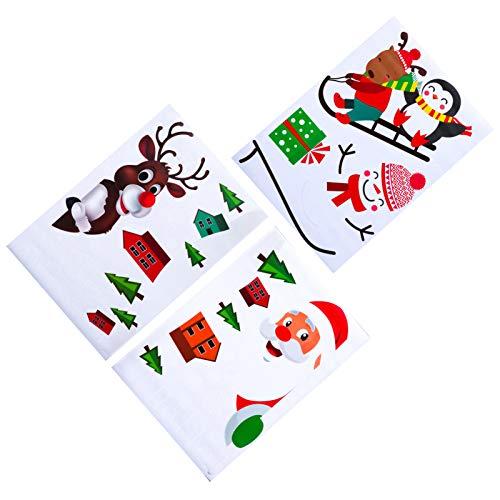 Tomaibaby Jul väggklistermärke gör-det-själv jultomte älg pingvin fönster klistermärke 2020 nyår PVC bil glas vitrinskåp klistermärke för ytterdörr fest butik juldekoration 3 st