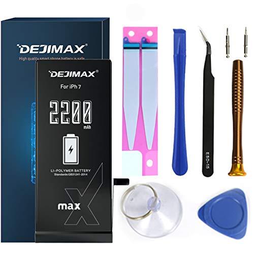 DEJIMAX Hohe Kapazität 2200mAh Akku 12% höher für iPhone 7 (A1660/A1779/A1778), 2200mAh Hochleistungs Li-Ionen Ersatzakku mit Werkzeugsatz und Reparatursatz