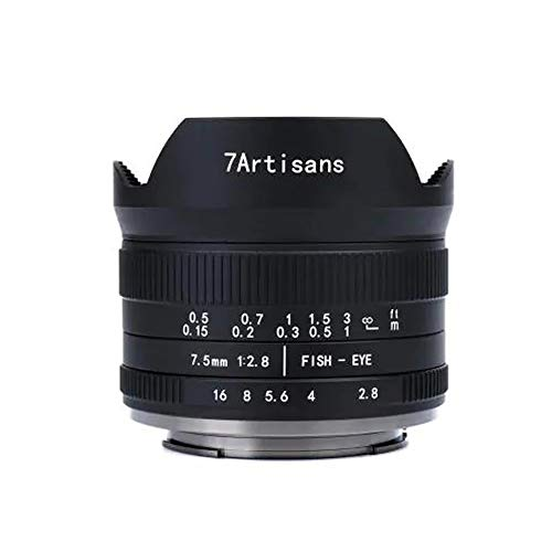 7artisans 7.5mm f2.8 II Fisheye Objektiv APS-C-Kameras Objektiv Kompakt für Sony E-Mount Kameras NEX-5N NEX-7 NEX-3N NEX-5T a6000 a3500 a5100 a6300 a6500