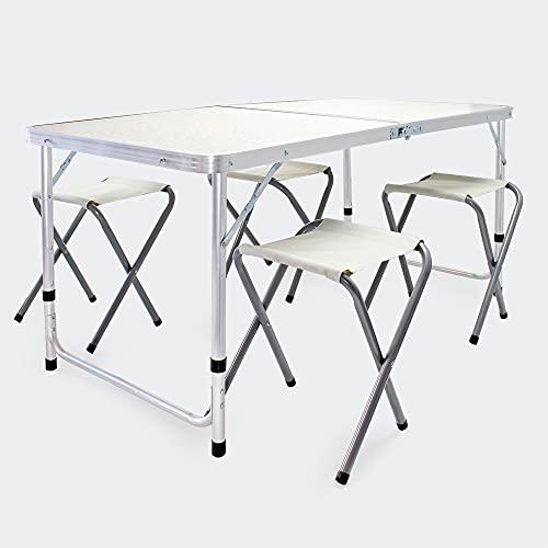 Set de Asiento para Camping 5 Piezas Aluminio Mesa con 4 sillas Outdoor Picnic Acampada Vacaciones