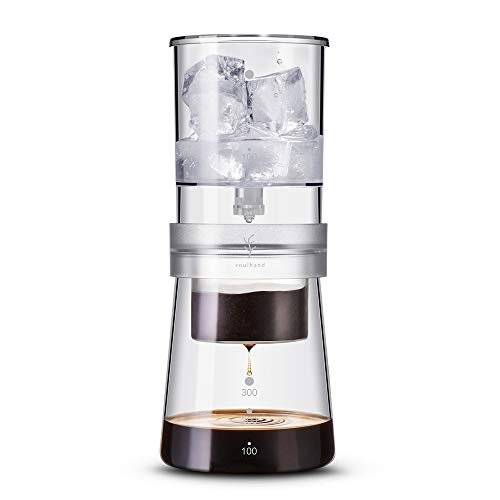 Soulhand Cold Brew Coffee Maker Cold Brew Iced Coffee Maker Ice Drip Coffee Maker Adjustable Rate Dutch Style Coffee Tea Maker Cold Brew Coffee Dripper 350ml for Home Travel Office