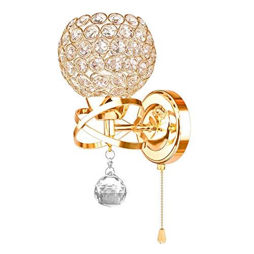 BANNAB Lámpara de Pared Moderna de Cristal con Interruptor de tracción, lámpara de Pared de Acero Retro nórdica para Pasillo de la Sala de Estar, Enchufe E14 (Dorado, Paquete de 2)