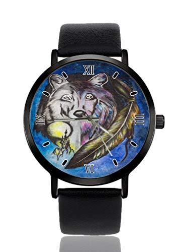 Reloj de pulsera para mujer con diseño de plumas de lobo de fantasía, ultra fino, extremadamente...