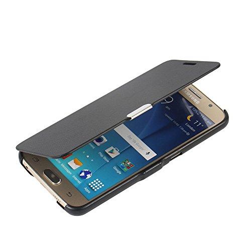 MTRONX für Samsung Galaxy S6 Hülle, Case Cover Schutzhülle Tasche Etui Klapphülle Magnetisch Dünn Leder Folio Flip für Samsung Galaxy S6 - Schwarz(MG-BK)