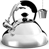 Tea Kettle - Stainless Steel Whistling Teapot with Capsule Bottom...