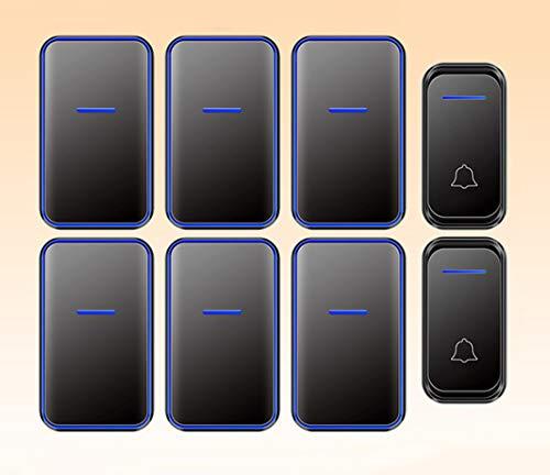 JFSKD draadloze afstandsbediening, waterdichte deurbelset, 6 ontvangers en 2 zenders 38 songs, 4 volumeniveaus LED-weergave, lange reikwijdte Sterk binnendringen