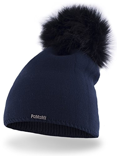 PaMaMi Slouch Beanie für Damen 17504 | warme Strickmütze mit Bommel | gestrickte Bommelmütze | Fellbommel Mütze für Winter | weiche Wintermütze | Farbenauswahl (Dunkelblau)