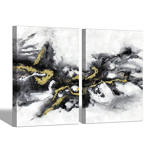 Black & White Abstract Wall Art: Watercolor Ink Splash Abstract Painting Picture for Living Room ( 24'' x 18'' x 2 Panels )