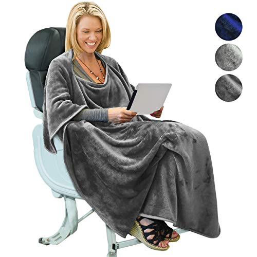Portable Travel Blanket Airplane Office 4 in 1 Micro Mink Fleece Poncho Blanket Folable with Pocket and Built-in Bag - Great for Airplane Car Train Travel - Ultra Soft and Cozy, Grey