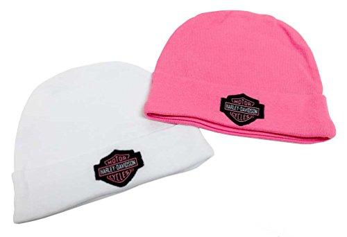 Harley-Davidson Baby Girls' Embroidered B&S Hats, 2PK Gift Set, Pink 3000044