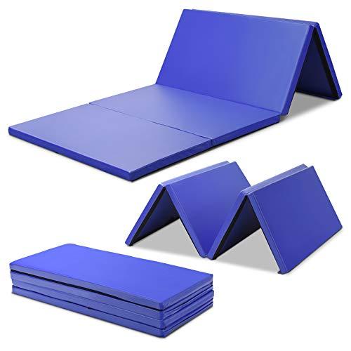 COSTWAY Weichbodenmatte 240x120x5cm | Gymnastikmatte klappbar | Yogamatte groß | Turnmatte | Klappmatte | Fitnessmatte Farbwahl (Blau)