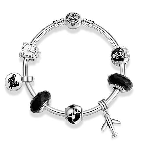ZYYDXK 925 Sterling Silber Original Hund Pet Charms Runde Perlenarmband Für Frauen Schneeflocke Herz Perlen Charme Armbänder Armreifen Schmuck 17 cm
