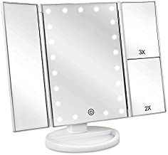 DeWEISN Tri-Fold Lighted Vanity Makeup Mirror with 21 LED Lights, Touch Screen and 3X/2X/1X Magnification Mirror, Two power Supply Mode Tabletop Makeup Mirror,Travel Cosmetic Mirror