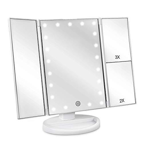 Espejo de Maquillaje con LED, Natural Iluminado Espejo de Mesa Luz con Ampliación 1X / 2X / 3X Plegable Espejo de la Vanidad Rotación 180° Pantalla Táctil Espejo Cosmético para Hombre y Mujer