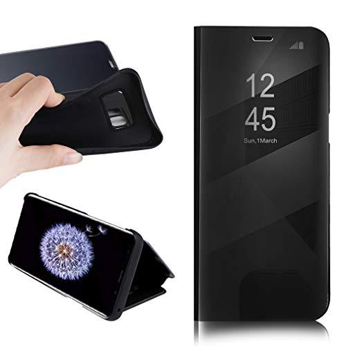 BOSHANDA Funda Samsung S8 Plus Case Clear View Standing Cover, Flip Cover Carcasa para Samsung Galaxy S8 Plus Soporte Plegable, Cierre Magnético, Negro