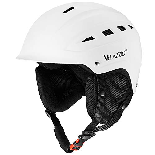 VELAZZIO Valiant Ski Helmet, Snowboard Helmet - Adjustable Venting, Goggles and Audio Compatible, Removable Liner and Ear Pads, Safety-Certified Snow Sports Helmet for Men, Women & Youth (White - L)