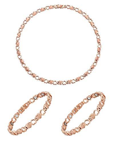 Juego de pulseras magnéticas de cobre con corazones de 20 cm