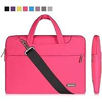 Qishare 13.3-14 Pulgadas Multifuncional portátil Hombro Bolsa maletín portátil de Ordenador portátil Caso Portador de la Ordenador portátil Messenger Caso(13.3-14 Pulgadas,Rosado)