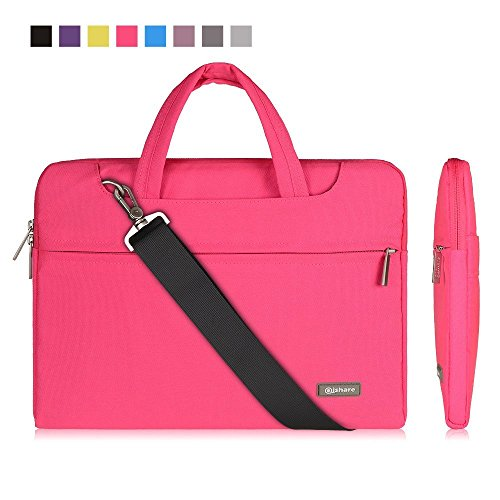Qishare 13.3 14 inch Laptop Case Laptop Shoulder Bag, Multi-functional Notebook Sleeve Carrying Case With Strap for Samsung Acer Asus Lenovo Yoga Macbook pro 13 Ultrabook Chromebook(Pink)