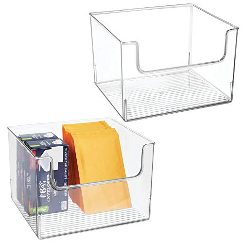 mDesign Plastic Open Front Home Office Storage Bin Container, Desk Organizer Tote - for Storing Gel Pens, Erasers, Tape, Pens, Pencils, Highlighters, Markers - 12' Wide - 2 Pack - Clear