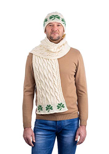 SAOL 100% Merino wol kabel gebreide Shamrock sjaal voor mannen, in natuurlijk/houtskool/marine/groen