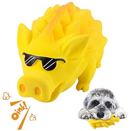 G.C Hund Kauspielzeug Quietschspielzeug unzerstörbares Hunde Schwein Spielzeug Natürliches Gummi Zahnbürste für Mittelgroße Große Hündchen (Gelb, Sonnenbrille)