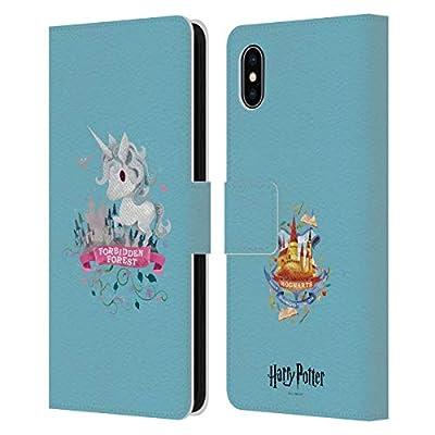 Head Case Designs Oficial Harry Potter Unicornio Deathly Hallows II Carcasa de Cuero Tipo Libro Compatible con Apple iPhone XS MAX