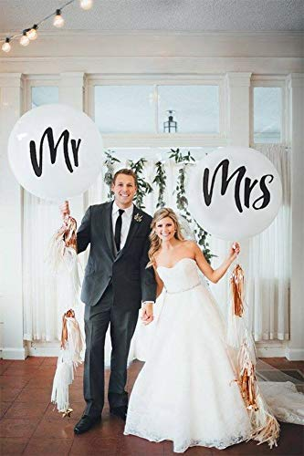 DP BOUTIQUE 36' Mr. & Mrs. Balloons Wedding Balloons with Two Paper Tassel Garlands for Outdoor Or Indoor Engagement Party Decorations Bachelorette Party Reception Entrances and Photo Backdrops